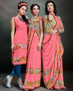 Buy Here : http://www.shaily.co/printed-sarees/beautiful-pink-color-printed-party-wear-georgette-saree.html
