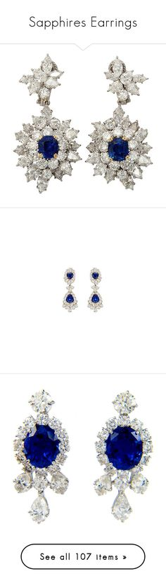 """Sapphires Earrings"" by sakuragirl ❤ liked on Polyvore featuring jewelry, earrings, accessories, brincos, sapphire diamond earrings, sapphire jewellery, harry winston earrings, harry winston, diamond earring jewelry and betteridge"
