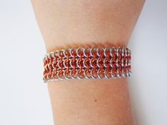 Orange Chainmaille Bracelet by JKODesigns on Etsy, $40.00