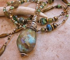 Luminous Blue Green Basha Bead with Sterling by deserttalismans