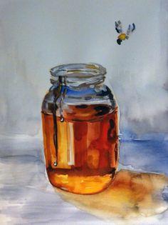 ≗ The Bee's Reverie ≗  Watercolor Bee & Honey - SaffronandTeal