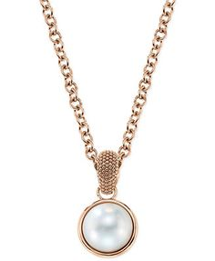 Bronzarte Cultured Freshwater Pearl Pendant Necklace in 18k Rose Gold over Bronze (15mm)