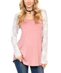 Another great find on #zulily! Mauve & White Lace-Sleeve Raglan Tunic #zulilyfinds