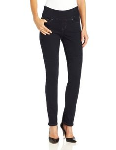 cef473bd Jag Jeans Women's Petite Malia Slim Pull-On The clean, dark wash lets you  dress this jean up or down as needed Subtle back pocket stitch  embellishment Color ...