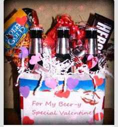 """valentines day gift diy """" I CAN DO THIS BUT WITH A 6PK DR.Pepper """"  *I soda love you Valentine *"""