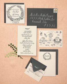 pretty invitation suite by @Susan Caron Caron Caron Caron Imasa-Stukuls via @Martha Stewart Weddings Magazine