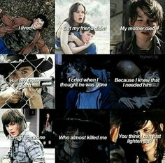"#TheWalkingDead Carl Grimes(Chandler Riggs) ""I lived but my friend didn't*, my mother died.. but my sister didn't*. I cried when I thought he was gone, because I knew that I needed him.. I saved someone who almost killed me. You think I can just lighten up?"""