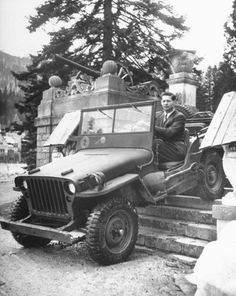 Photographic Print: King Michael of Rumania Driving Down Steps Leading Out of Sinaia Palace : Old Jeep, Jeep Tj, Jeep Willys, Military Jeep, Military Vehicles, Michael I Of Romania, History Of Romania, Romanian Royal Family, Volkswagen