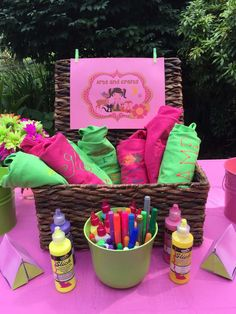 Design a t-shirt at a glamping birthday party! See more party ideas at CatchMyParty.com!