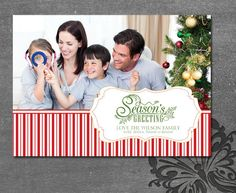 Photo Christmas Card  Single Photo option of Season Greetings or Merry Christmas... Classic Candy Cane Style