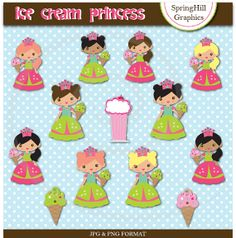 Instant Download Ice Cream Princess Digital Clip Art for Card Making, Web Design, Scrapbooking - Personal and Commercial use