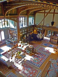 View of the Grand Parlour at Wightwick Manor: showing use of Morris furniture, rugs, wallpapers and textiles. #William_Morris #Morris_and_Co #Wightwick_Manor