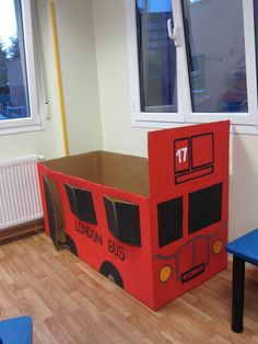 London bus created for England topic or it could be made into a fire engine Eyfs Activities, Toddler Activities, London Activities, Movement Activities, Transport Topics, Bus Crafts, British Values, Around The World Theme, Kids Birthday Themes