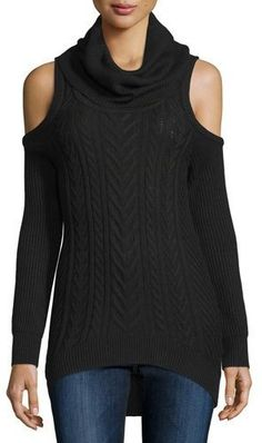 Haute Hippie Cold-Shoulder Turtleneck Pullover Sweater, Black