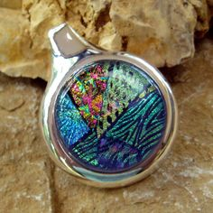 Dichroic Fused Glass in a Silver Setting Green by GlassCat on Etsy, $32.00