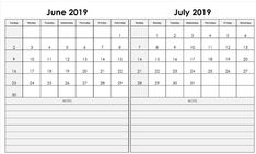 Get Two Month Calendar June And July 2019 ⋆ The Best Printable Calendar Collection