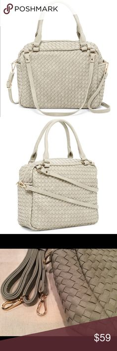 """Beautiful Quality Gray Vegan Leather Woven Satchel Gorgeous vegan leather satchel with adjustable, detachable shoulder strap and dual top handles, this bag is so versatile! Features gold hardware, 1 zippered pocket and 2 slip pockets on the interior, top zip closure.  9"""" x 11 1/2"""" x 4 1/2"""" 6.5"""" handle drop 23"""" strap drop Pink Haley Bags Satchels"""