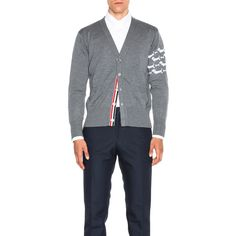Thom Browne Hector Embroidery Cardigan (1,985 NZD) ❤ liked on Polyvore featuring men's fashion, men's clothing, men's sweaters, sweaters & knits, mens cardigan sweaters and mens short sleeve sweater