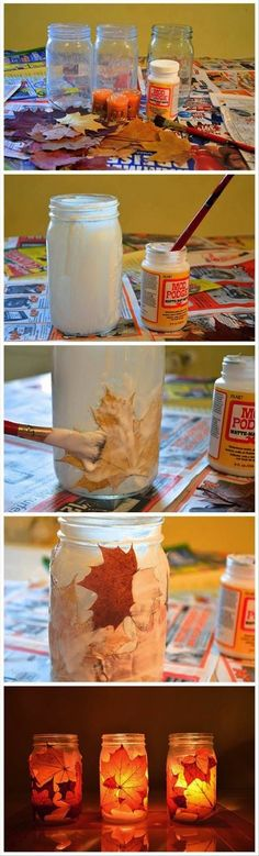 frascos velas - Love this! Easy and cute Autumn Crafts, Thanksgiving Crafts, Holiday Crafts, Fun Diy Crafts, Craft Projects, Crafts For Kids, Craft Ideas, Leaf Crafts, Fall Projects