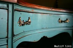shabby turquoise desk make-over by shabby loco #diy
