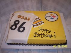 Pittsburgh Steeler theme sheet cake ordered for a woman turning I was told she is a fuge Hines Ward fan! Sports Themed Birthday Party, 60th Birthday Party, Birthday Ideas, Sports Party, Cake Icing, Cupcake Cakes, Cupcakes, 21st Bday Cake, Birthday Sheet Cakes