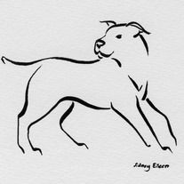 "5""x6″ Original artwork is brush marker on white paper.    Depiction of a pit bull dog turning mid-run, utilizing lines of varying width.    My goal in creating minimalist art is to convey a complete image, with movement and life, in the fewest strokes..."