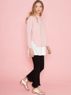 Dahlia Lucy Pink Two in One Jumper with White Under Blouse