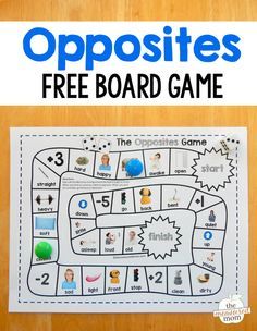 Opposites board game - The Measured Mom Opposites Game, Opposites Preschool, Preschool Curriculum, Preschool Learning, Learning Activities, Teaching Kids, Opposites For Kids, Opposites Worksheet, Learning Tools