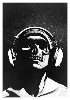Skull and Headphones 2 — Prints by Rhys Owens / Hidden Moves
