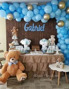 Details about stunning diy pastel blue chrome gold balloon garland kit party decorations – Artofit Baby Shower Decorations For Boys, Boy Baby Shower Themes, Baby Shower Balloons, Baby Shower Gender Reveal, Baby Shower Centerpieces, Teddy Bear Centerpieces, Shower Bebe, Baby Boy Shower, Juegos Baby Shower Niño