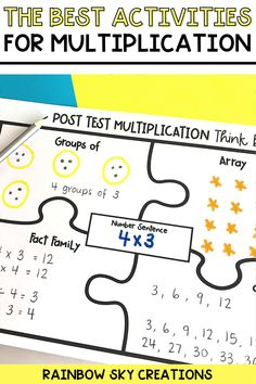 If you are looking for hands-on Multiplication activities to use with your 3rd grade or 4th grade students, you will love my activities and games bundle! This comprehensive resource will provide your students with hands-on, differentiated activities that will build their multiplication skills, strategies, and fluency. These printable activities are perfect for whole class or math center activities. Multiplication Facts Practice, Multiplication Strategies, Multiplication And Division, Activity Centers, Math Centers, Teaching Math, Teaching Resources, Professional Development For Teachers, Rainbow Sky