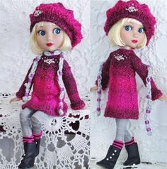 """SWEATER,HAT,LEGGING&BOOTS SET MADE FOR TONNER/WILDE PATIENCE & SAME SIZE 14""""DOLL"""
