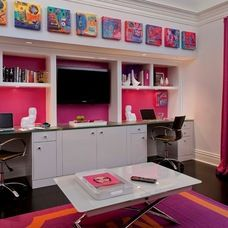 like the design of one or two desks on either side of the TV for the DEN
