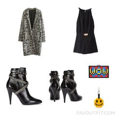 Street Style List Featuring Coat Halter Top Yves Saint Laurent Ankle Booties And Ankle Boots From November 2015 #outfit #look