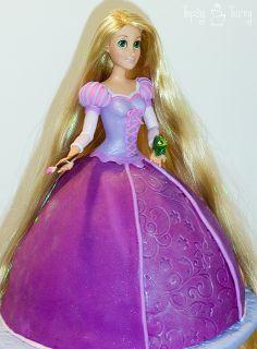 Princess Rapunzel barbie birthday fondant cake tutorial, via Flickr Ashlee@imtopsyturvy