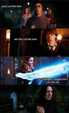 This is why Snape hates the Golden Trio so much, because it reminds him of Lily. He also hates Neville because he could've been the chosen one instead of Harry, which would mean that Lily would be alive again. Sorry, I'm a diehard Potterhead ⚡️⚡️⚡️ Harry Potter World, Harry Potter Puns, Harry Potter Universal, Harry Potter Ron And Hermione, Harry Potter Treats, Harry Potter Theories, Hermione Granger, Golden Trio, Fans D'harry Potter