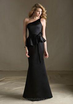 One Shoulder Sleeveless Black Satin Mermaid Long Bridesmaid Dress Peplum Bridesmaid  Dresses 3a3be31eb999