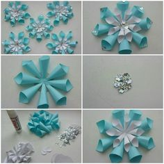 Image about diy in 🌻 Crafts 🌻 by 💜 Sweet Cabello 💜 Origami Christmas Ornament, Snowflake Craft, Christmas Paper Crafts, Frozen Tea Party, Frozen Themed Birthday Party, Office Christmas, Noel Christmas, Paper Decorations, Christmas Decorations