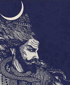 Ravana - An ardent Shiv Bhakt Shiva Hindu, Shiva Shakti, Hindu Art, Aghori Shiva, Rudra Shiva, Indian Gods, Indian Art, Acid Trip Art, Shiva Angry