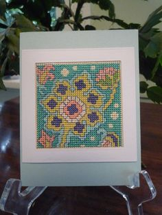 Bright Spring hand stitched card. $6.00, via Etsy.