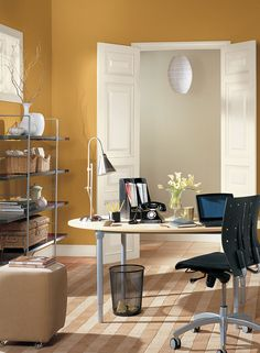 Easy Orange Home Office! Walls Color: Venetian Gold   Hallway Wall Color:  Bleeker