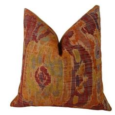 Plutus Bear Canyon Ikat Handmade Throw Pillow, Multicolor