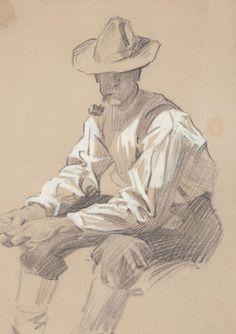 JOSEPH CHRISTIAN LEYENDECKER (American, 1874-1951). Seated Man. Pencil on paper. 7.25 x 5 in.