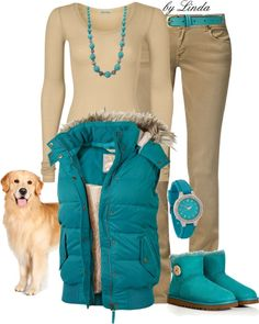 beige and turquoise - puffy vest, check, corduroys, check!