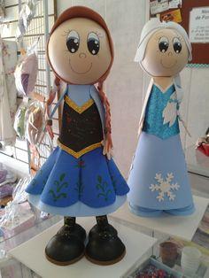 Anna e Elsa 3D em E.V.A. Goma Foamy