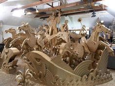 Fountain of horses made from cardboard