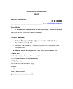 Diploma Computer Science Resume Template  Scholarship Resume Templates