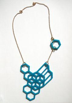 geometric turquoise necklace by eskildesign on etsy