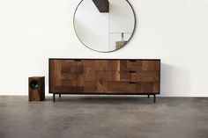 Modern Patchwork Walnut and Steel Credenza - kith&kin makers  - 1