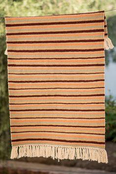 Vintage Kilim Rug Multicolore Stripes, Handmade of wool Handwoven in Tunisia x x - The Berber Rug Berber Rug, Accent Rugs, Kilim Rugs, Hand Weaving, Stripes, Wool, Handmade, Vintage, Style